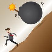 Cartoon businessman escape from grenade bomb — Vecteur