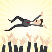 Cartoon happiness businessman throw up teammate hand — Stock Vector