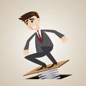 Cartoon businessman jumping on springboard — Stock Vector
