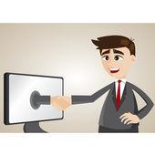 Cartoon businessman check hand from computer — Stock Vector
