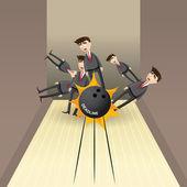 Cartoon bowling strike businessman pins — Stock Vector
