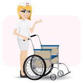 Pielęgniarka kreskówka z wózka inwalidzkiego — Wektor stockowy