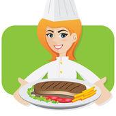 Cartoon girl chef serving steak — Stock Vector