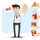 Cartoon doctor refuse junk food — Stock Vector