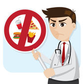 Cartoon doctor with junk food prohibit signage — Stock Vector