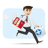 Cartoon doctor in rush hour — Stock Vector