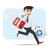 Cartoon doctor in rush hour — Stock Vector