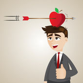 Cartoon businessman with targeted apple on his head — Stock Vector