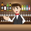 Cartoon bartender at cocktail bar — Stock Vector