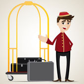 Cartoon bell boy with trolley and bag — Stockvector
