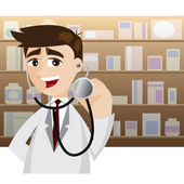 Cartoon doctor in action using stethoscope — Stockvector