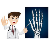 Cartoon doctor with x-ray film — Stock Vector