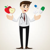 Cartoon pharmacist with apple and pills — Stockvektor