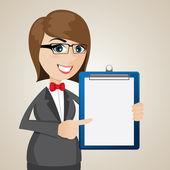 Cartoon businesswoman with presentation blank board — Stockvector