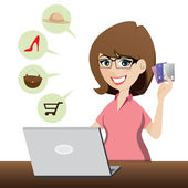 Cartoon cute girl shopping online with credit cards — Stock Vector