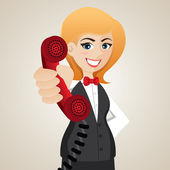 Cartoon public relation holding telephone — Stock Vector