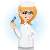 Cartoon nurse with thermometer — Stockvektor