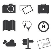 Travel destination icons set — Stock Vector