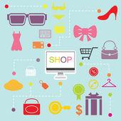 Shopping online infographics flatten design — Stock Vector