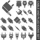 Cable and plug icons set — Stock Vector