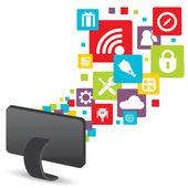 Social media technology computer — Stock Vector