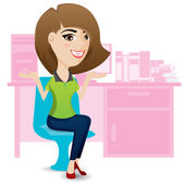 Office lady ralax on chair — Vector de stock
