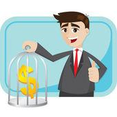 Cartoon businessman saving money in cage — Stock Vector