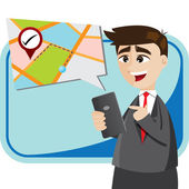 Cartoon businessman with map from smartphone — Vector de stock