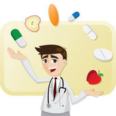 Cartoon doctor with medicine juggling — Stockvector