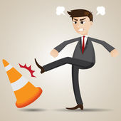 Cartoon angry businessman kicking cone — Stockvector