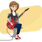 Cartoon cute girl playing electric guitar — Vector de stock