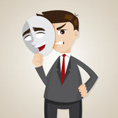 Cartoon angry businessman under happy mask — Stock Vector