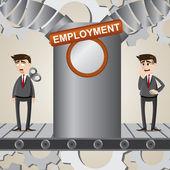 Cartoon businessman transform into robot employee — Vector de stock