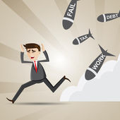 Cartoon businessman avoid social turmoil — Stock Vector