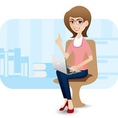 Cartoon cute girl with laptop at office — Stockvector