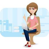 Cartoon cute girl with laptop at office — Cтоковый вектор