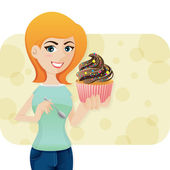 Cartoon cute girl with sweeties cupcake — Stock Vector