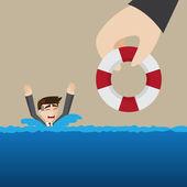 Cartoon saving businessman — Stockvector