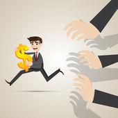Cartoon businessman run away from creditor — Stock Vector