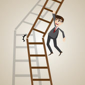 Cartoon businessman on broken ladder — Stock Vector