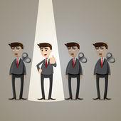 Cartoon businessman with spotlight winner — Stockvector