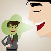 Cartoon businessman with halitosis stinky — Stockvektor