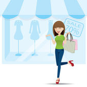Cartoon teenage girl shopping on shop background — Stock Vector