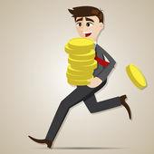 Cartoon businessman holding gold coin — Stockvector
