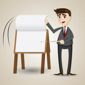Cartoon businessman flip paper on presentation board — Stock Vector