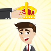 Cartoon businessman promoting with crown — Stock Vector