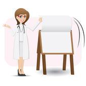 Cartoon cute doctor flip paper on presentation board — Stock Vector
