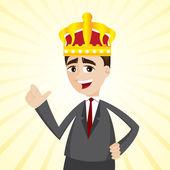 Cartoon zakenman met kroon — Stockvector
