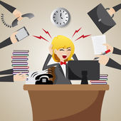 Cartoon businesswoman with many workload — Stock Vector