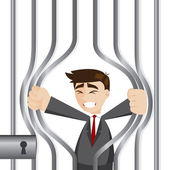 Cartoon businessman trying to break prison — Stock Vector